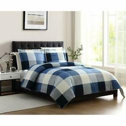 2 Piece Blue White Cabin Themed Twin Comforter Set Checkered