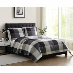 3 Piece Grey Black Cabin Themed Full Queen Comforter Set Che