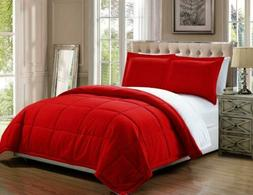 3 piece Luxury Red / White Reversible Goose Down Full / Quee