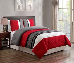 GrandLinen 3 Piece Red/Grey/Black/White Scroll Embroidery Be