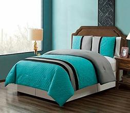 GrandLinen 3 Piece Teal Blue/Grey / Black Embroidery Bed in