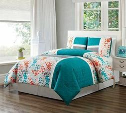 3 Piece Turquoise Blue/Orange/Grey Patchwork Bed In A Bag Do