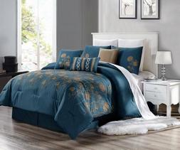 3PC DUVET BED COMFORTER COVER SET TEAL BLUE TAUPE EMBROIDERY