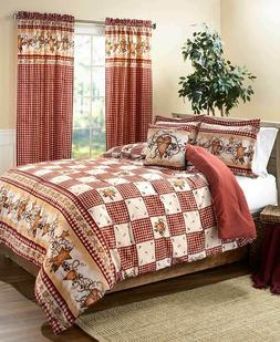 3pc HEART STARS BERRIES CHECKED COMFORTER SHAM SET Country F