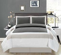 4 Piece KING Size DARK GREY / LIGHT GREY / WHITE Color Block
