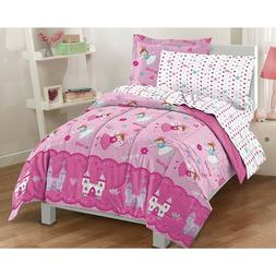 Pink Fairy Princess Twin Comforter Set 5pc Girl Bed Room Spr