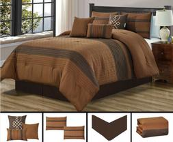 7 Piece Brown Quilted Embroidery Comforter Set Queen/King Si
