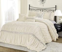 7 Piece CLARAITA Chic Ruched Pleated Ivory Comforter Set in