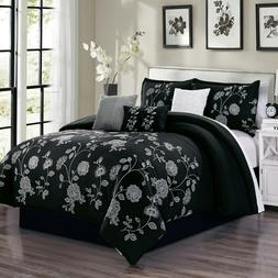 7 Piece Deloris Floral Embroidery Comforter Set Bed-In-A-Bag
