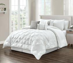 7 Piece Elegant Design White Pleated Comforter Set Queen Kin