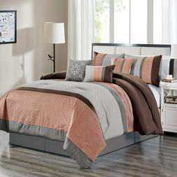 7 Piece Jessie Embossed and Pleated Comforter Set Bed-In-A-B