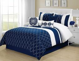 7 Piece MALIBU Wave Embroidery Comforter Set Navy Blue- Quee