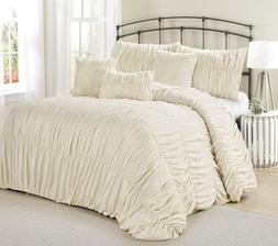 7 Piece Rosales Chic Ruched Ruffled Pleated Comforter Sets-