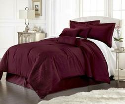 7-Piece Solid Burgundy Embossed Dobby Stripe Comforter Set
