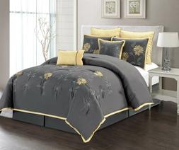 7Pc King Size Comforter Set Embroidered Gray/Yellow Sunflowe