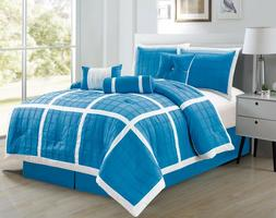 7pc Microfiber Aqua & White, Checkered Stitched Comforter Se