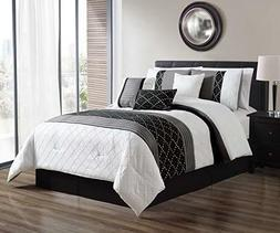 DCP 7Pcs Oversized Embroidery Bed in Bag Comforter Set Black