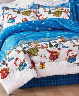 8 PIECE KING Size Christmas Frosty Holiday Snowman Comforter