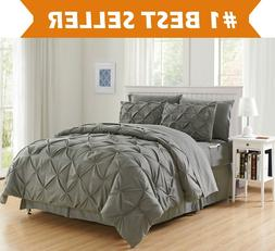 8-Piece Pintuck Design Bed-in-a-Bag Comforter Set All Color