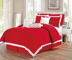 9pc Red and White Pleated Microfiber Comforter Set Full Quee