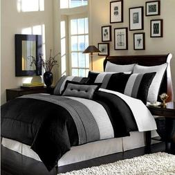 Chezmoi Collection 6-Piece Luxury Stripe Comforter Bed-in-a-