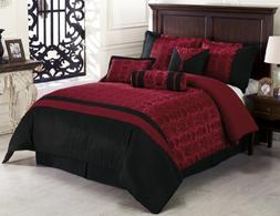 Chezmoi Collection Dynasty Jacquard 7-Piece Comforter Set, C