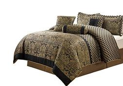 Chezmoi Collection Lisbon 7-Piece Jacquard Floral Comforter