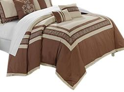 Chic Home 7-Piece Venice Embroidered Comforter Set, Queen, T