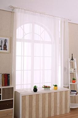 Elegant Comfort 2-Piece Solid White Sheer Window Curtains/dr
