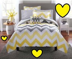 💗 ALL SIZES Yellow Grey Chevron Bed-in-a-Bag Comforter  &