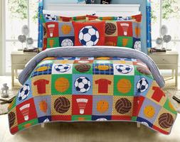 Athletic Kids Youth Sports Reversible Quilt Set 4 PC Patchwo
