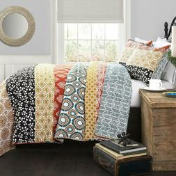 bohemian striped quilt reversible 3 piece colorful