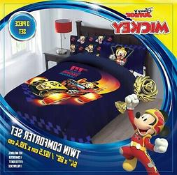 Boys Disney Mickey  Mouse Comforter Set Roadster Racer Twin