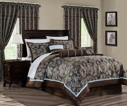 Cal King Queen Brown Blue Silver Jacquard Paisley 7 pcs Comf