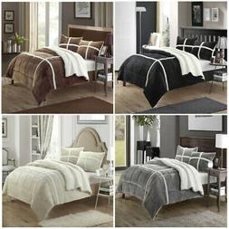 Chic Home Chloe Plush Microsuede Sherpa Lined 3 Piece Comfor