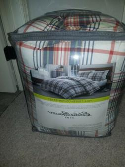 classic plaid queen size comforter set new