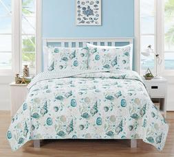Coastal Quilt Set King Size Nautical Blue Shells Comforter B