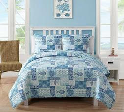 Coastal Quilt Set King Size Reversible Comforter Bedding Bed