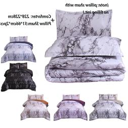 Marble Comforter Set Quilt + Pillowcases Queen Bedding Goose