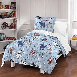 Dream Factory Dog Dreams Comforter Set, Twin, Blue