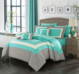 Chic Home Duke 10 Piece Complete Color Block Bed, Queen, Tur