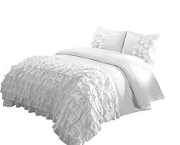 Chezmoi Collection 3-Piece Ella Waterfall Ruffle Comforter S