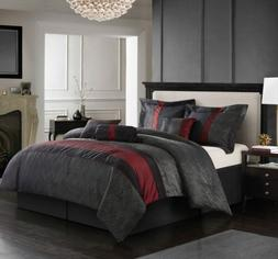 Full Queen Cal King Bed Red Black Gray Grey Geometric Stripe