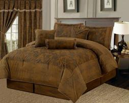 Full Queen Cal King Bed Brown Camel Rustic Paisley Faux Sued