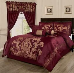 Full Queen Cal King Size Bed Burgundy Red Gold Floral Damask