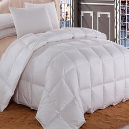 Full/Queen Dobby Checkered Striped White Duck Down Comforter