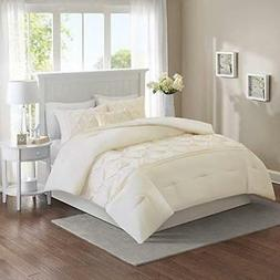 Full Queen King Bed Solid Ivory Cream Pintuck Pleat Tufted 5