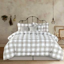 Full Queen King Bed Tan Beige White Buffalo Checked Plaid 7
