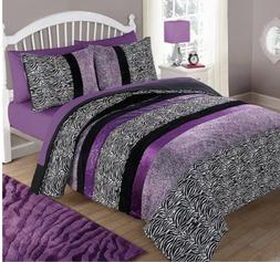 Girl's Kid's Purple Zebra Twin Size Comforter Set Pillow Sha
