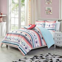 Chezmoi Collection Girls Comforter Bedding Set Printed Owls